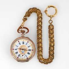 Silver pocket watch with watch chain.