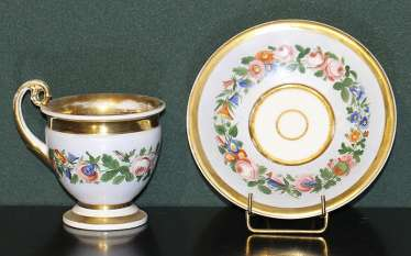 Cup and saucer with floral decoration. Russia, no postage.
