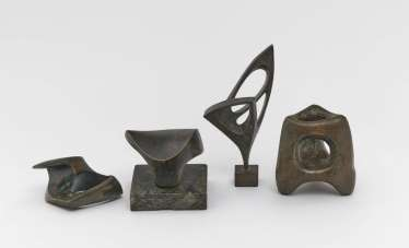 Seff Weidl, mixed lot of 8 parts. 6 bronze reliefs or bronze sculptures and two drawings. 5 reliefs resp.