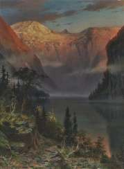 Johannes Harders - The Königssee in the sunset