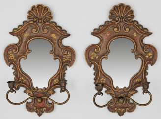 Pair of wall appliques with chinoiserie decor