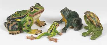 Four Frog Miniature Figurines