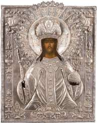 RARE ICON OF CHRIST AS HIGH PRIEST, WITH A SILVER OKLAD