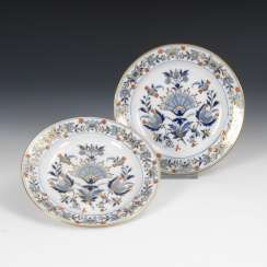 2 plates with blue painting, MEISSEN