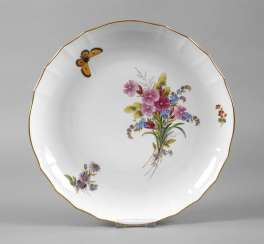 Meissen cake dish spring flowers with butterfly