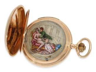 Pocket watch: red-gold Savonnette with quarter-hour repeater and a hidden erotic automaton, attributed to A. Lugrin in Switzerland, about 1900