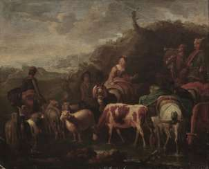 Pieter van Bloemen, Art des, Soldiers pulling with sutler and cattle On the stretcher, owner's seal.
