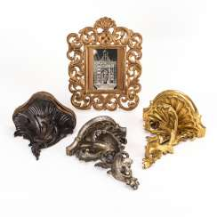Carved frame with acanthus tendrils and 3 carved consoles