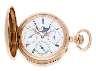 Pocket watch: rarity, early, early, early red-gold Savonnette with a perpetual calendar and minute repeater, Louis Audemars, No. 10377, CA. 1870