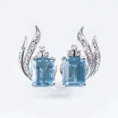 Pair Of Aquamarine And Diamond Earrings