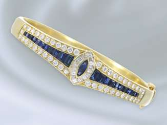 Bracelet: high-quality and extremely solid carved vintage bangle bracelet with rich sapphire, diamond, and brilliant trim, 18K Gold