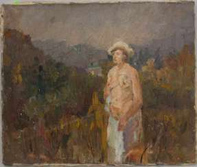 UNKNOWN ARTIST: NUDE IN a FIELD; Oil on canvas