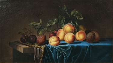 Still-life with apricots and plums. Paul Liégeois, active mid-17th century. Century