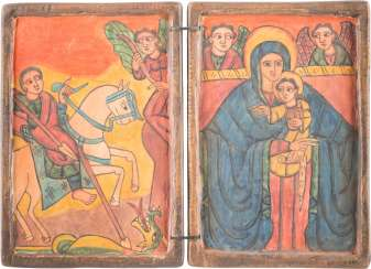 COPTIC DIPTYCH WITH SAINT GEORGE THE DRAGON SLAYER AND THE MOTHER OF GOD