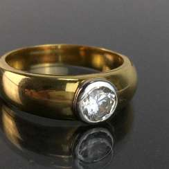 Solitaire Ring / locking ring: yellow gold and white gold 333, very solid Ring.