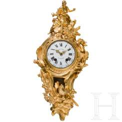 Fire Louis XV cartel clock, Dupont, Paris, mid-18th C gold-plated. Century
