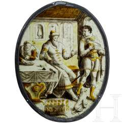 "Oval roundel ""Farewell to the Prodigal Son"", Netherlands, around 1550"