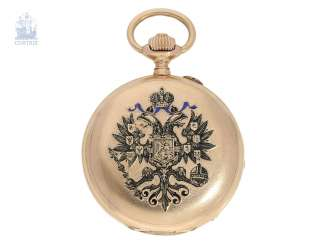Pocket watch: historically interesting Gold/enamel-red gold-Savonnette, probably Präsentuhr of the Empress Maria Feodorovna in 1895, Pavel Buhre No. 22573
