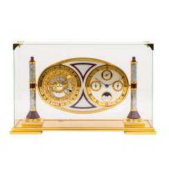 HOUR LAVIGNE REFINED TABLE CLOCK WITH ASTROLABE, UNDER GLASS DOME