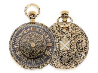 Pocket watch: exceptional Gold and enamel FOB watch of the finest quality, the Pierre Simon Gounouilhou, Geneva No. 12190, CA. 1860