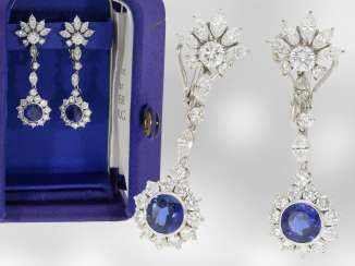 Earrings: extremely exclusive and valuable sapphire/diamond earrings from the court jeweller and Roesner, a total of approx. 6,16 ct, 18K white gold, new-old-stock with original box