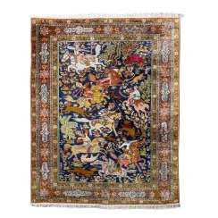Oriental rug made of silk. 20. Century, approx. 209x138 cm.