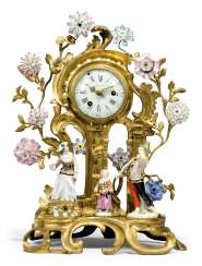 A LOUIS XV ORMOLU-MOUNTED AND MEISSEN PORCELAIN STRIKING MANTEL CLOCK