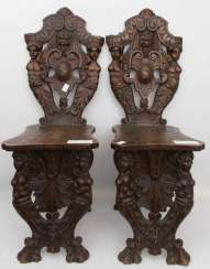 TWO CHAIRS SGABELLO STYLE, wood/lacquer, Germany, 20. Century