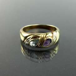 Ladies ring with Amethyst and Topaz and brilliant-cut diamonds, yellow gold and white gold 333, very good.