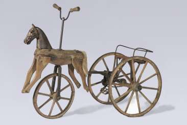 Rare tricycle-horse made of wood - -