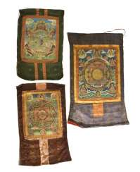 Three Thangkas with depictions of the Mandala