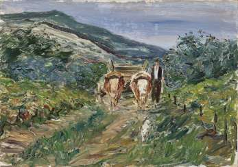 Farmer with ox-cart. Dill, Otto