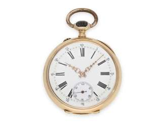 Pocket watch: early red-gold precision pocket watch, signed J. Calame Robert, Anchor chronometer No. 71145, CA. 1890