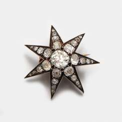 Belle Epoque star brooch with diamonds