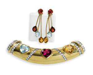 Pendant with color stones, heart-cut and Pair of earrings