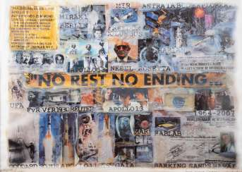 CHARLES WILP in 1932, Witten - 2005 Düsseldorf. 'NO REST NO ENDING' (COLLAGE ON THE THEME OF APOLLO 13)