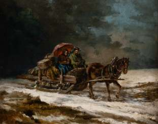 RUSSIAN SCHOOL painter carriage around 1900, peasant couple on a horse