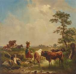 Shepherd family with cattle at water
