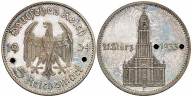 GERMANY 5 REICHSMARK 1934 F