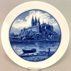 Plate / wall plate: view of Meissen, on the Elbe river and castle mountain in cobalt blue.