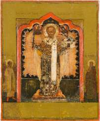 FINE ICON WITH SAINT NICHOLAS OF MOSCHAJSK AND TWO BORDER SAINTS