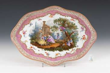 Tray with Watteau painting, MEISSEN.