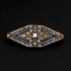 Art-Deco brooch with old European cut-Brilliant