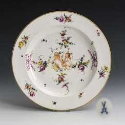 Plate with putti painting