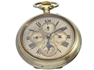 Pocket watch: rare, large, astronomic pocket watch with full calendar and moon phase, Switzerland, around 1885