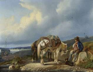 Johann Adam Klein, attributed to, Resting merchant with two horses on the river bank