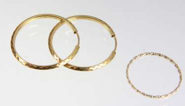 Gold Hoop earrings & Ring - yellow gold 333