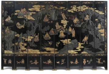 Eight-piece control screen of Coromandel lacquer, with scenes of Lohan and Antiques