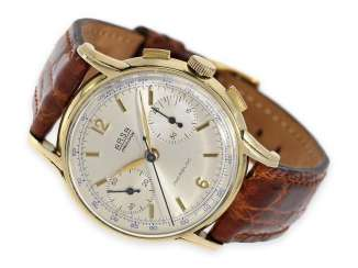 Watch: large, rare Chronograph watch with special case and an interesting dedication, Präsentuhr of Venus SA Emile Nicolet, Manufacture d'horlogerie A. Reymond SA ARSA 1949