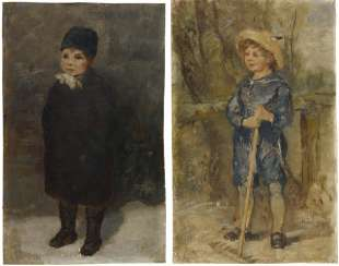 Two oil studies of the children of the painter